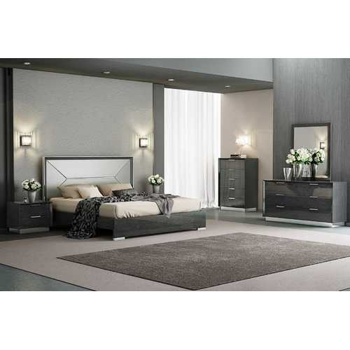 Grey Faux Leather King Bed