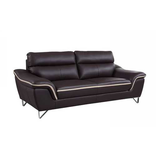 "36"" Charming Brown Leather Sofa"