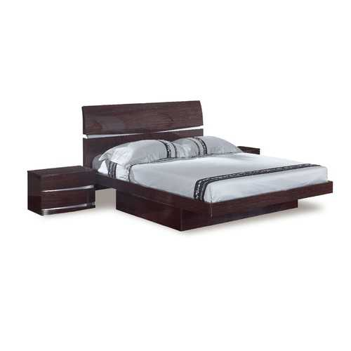 Modern Eastern King Oak High Gloss Bed