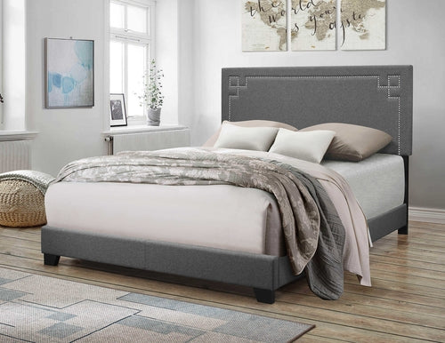 Gray Fabric Upholstered Panel Bed