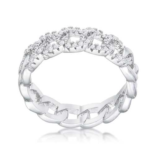 Interlocking Rhodium Chain Design Ring with CZ