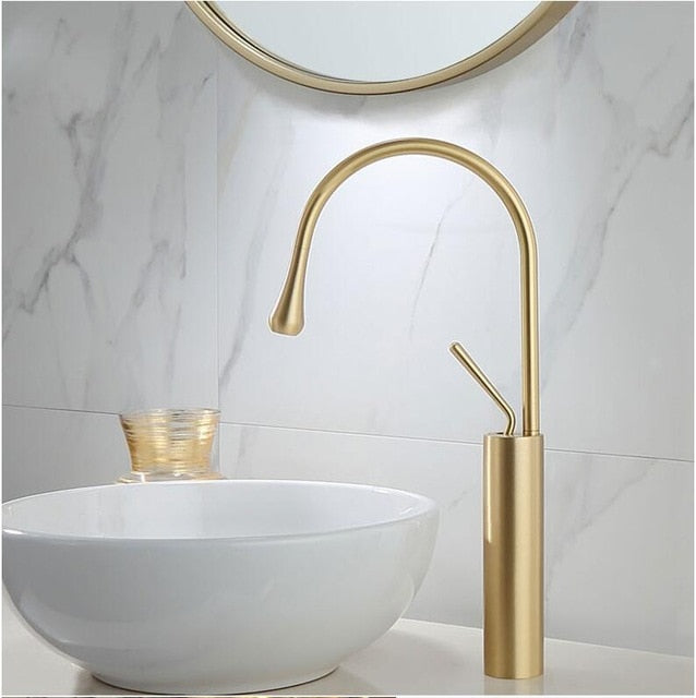 Gold Brushed Single Lever Bathroom Basin Faucet