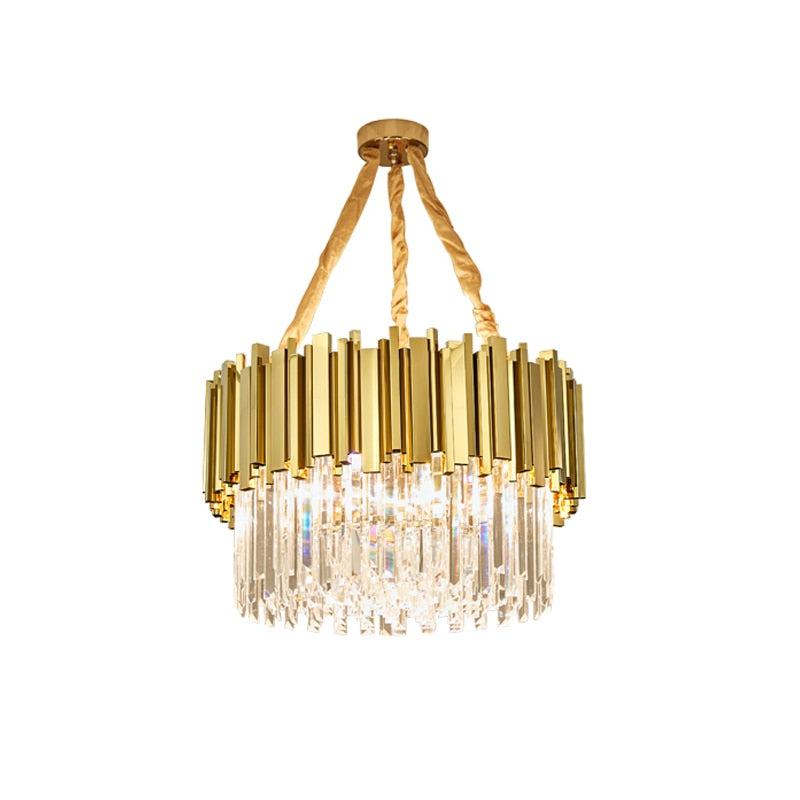 Golden Statement Geometric Crystal Chandelier