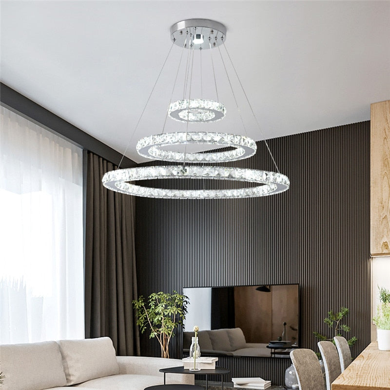 Ceiling Pendant Fixtures Crystal LED Chandeliers