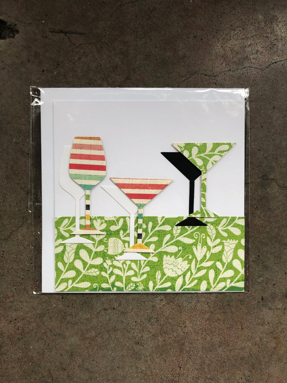 Handmade Multicoloured Glasses Card