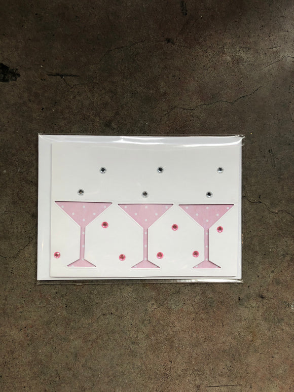 Handmade Pink Martini Glass Card