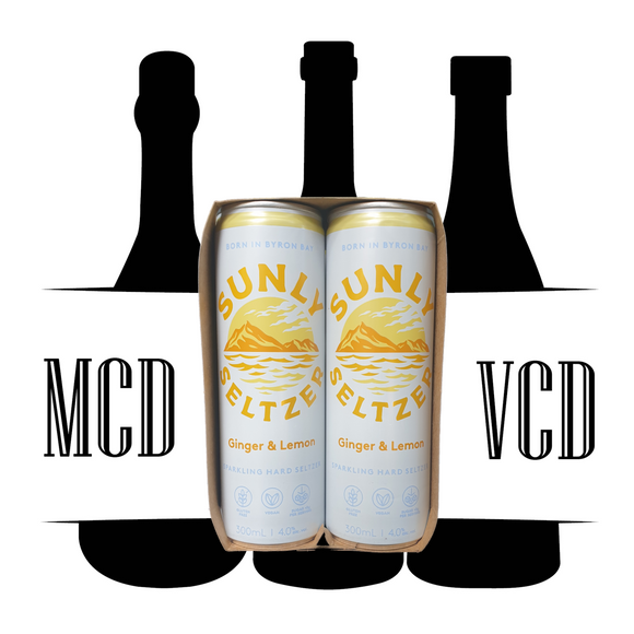 Sunly Seltzer Ginger & Lemon Cans - 4pk (4% AVB)