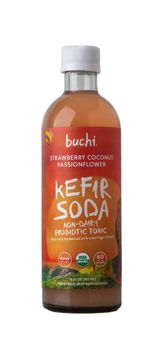 Strawberry Coconut Passionflower Kefir Soda -- Buchi Brand