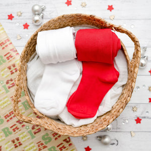Christmas Cotton Tights | Red + White 2 Pack
