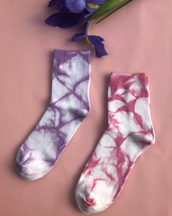 Women's Sock Tie Dye Set - Pink & Purple