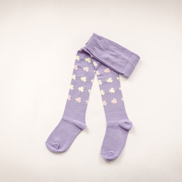 Kids Lilac Clover Cotton Tights