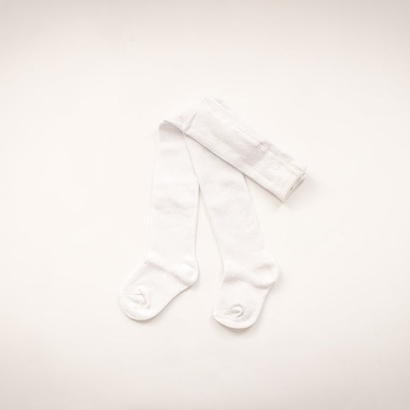 Kids White Cotton Tights