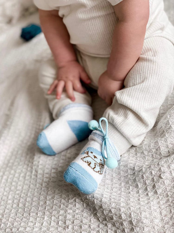 Blue Kitty Baby Booties