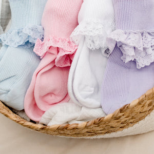 Kids Assorted Coloured Lace Frill Socks - 3 Pack