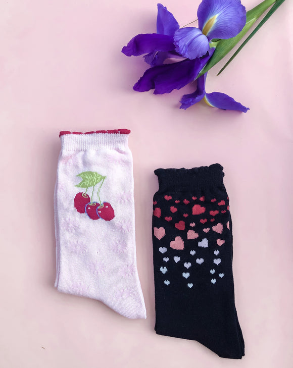Women's Socks Cherry & Hearts Set