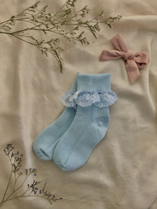 Blue Lace Frill Socks - 3 Pack