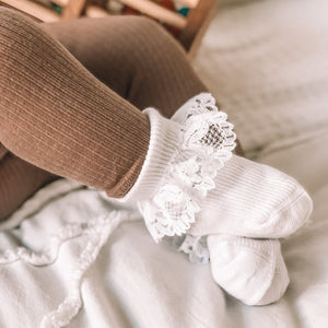 Baby White Lace Frill Socks - 3 Pack