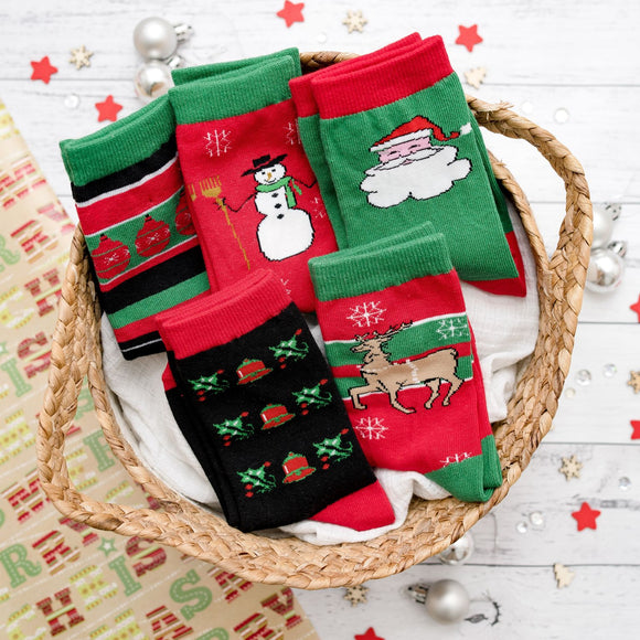 5 Pack Kids Christmas Novelty Socks | Kris Kringle Stocking Stuffer