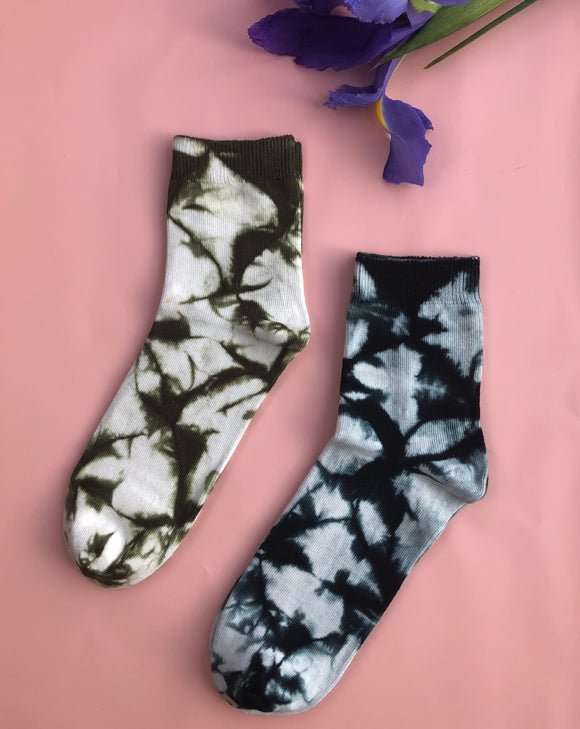 Women's Sock Tie Dye Set - Olive & Black