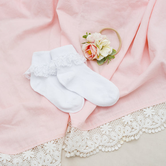Kids White Lace Frill Socks
