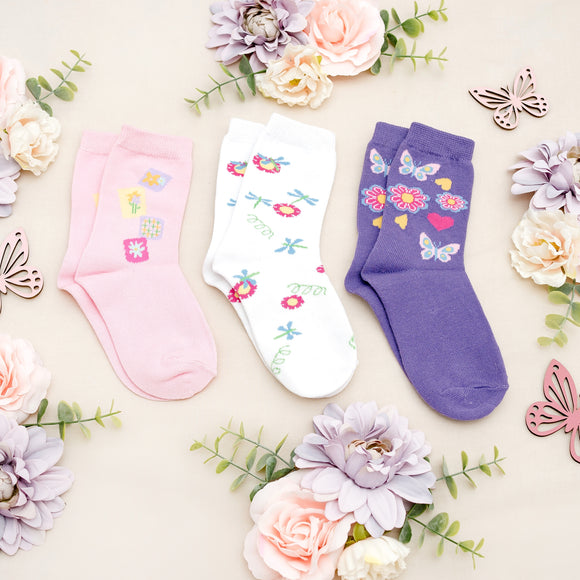 Flower Power Girls Kids Socks - 3 Pack