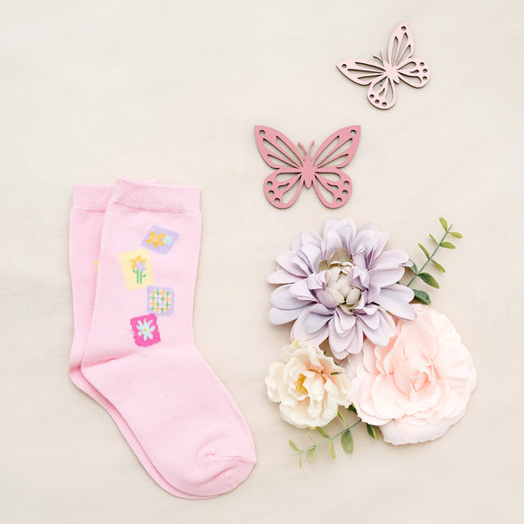 Pink Girls Flower Patch Kids Sock - 1 pair