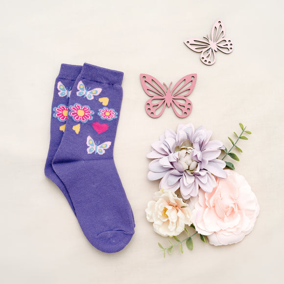 Purple Girls Butterly Flowers Kids Sock - 1 pair