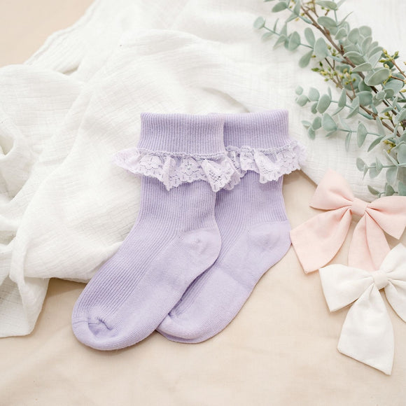 Purple Lace Frill Socks - 3 Pack