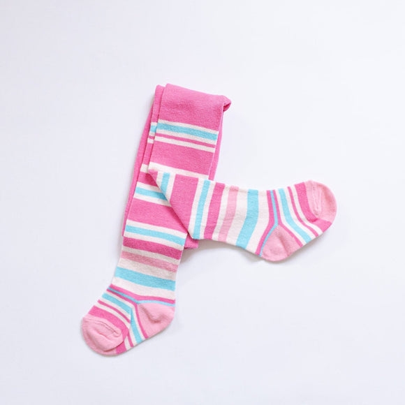 Baby Pink Stripy Cotton Tights
