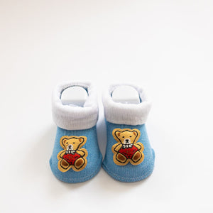 Blue Teddy Baby Booties