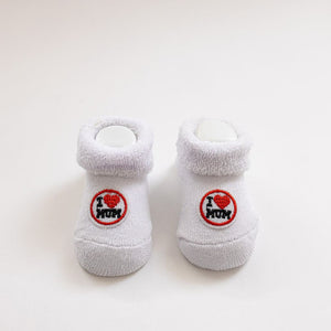I Love Mum Baby Booties