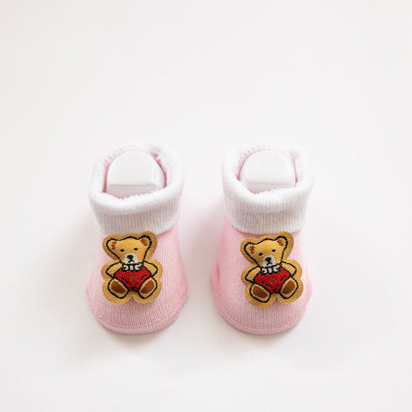 Pink Teddy Baby Booties