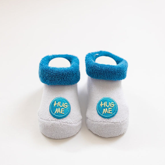 Blue Hug Me Baby Booties