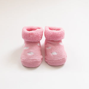 Spotty Pink Baby Booties