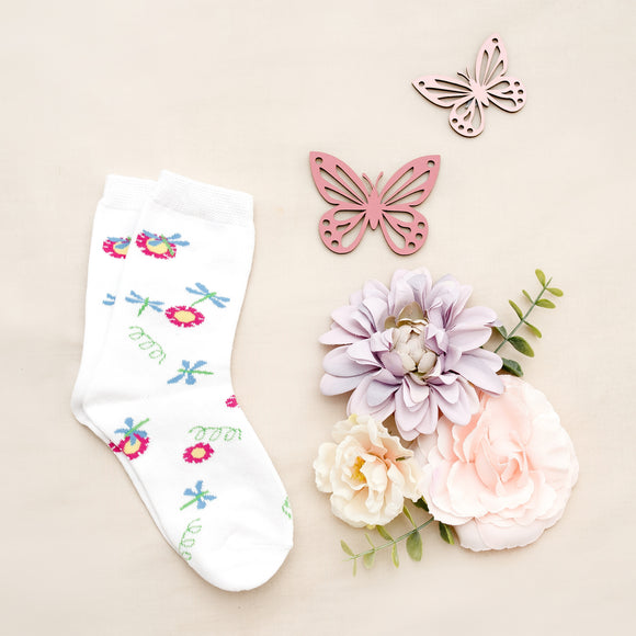 White Girls Flower Patch Kids Sock - 1 pair