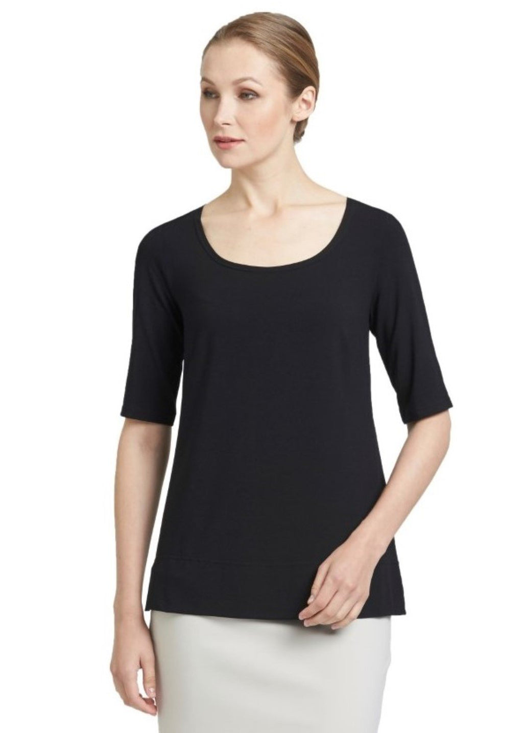 PAULA RYAN ESSENTIALS Easy Fit Half Sleeve Scoop Neck Top - MicroModal 6833-Black-S Top