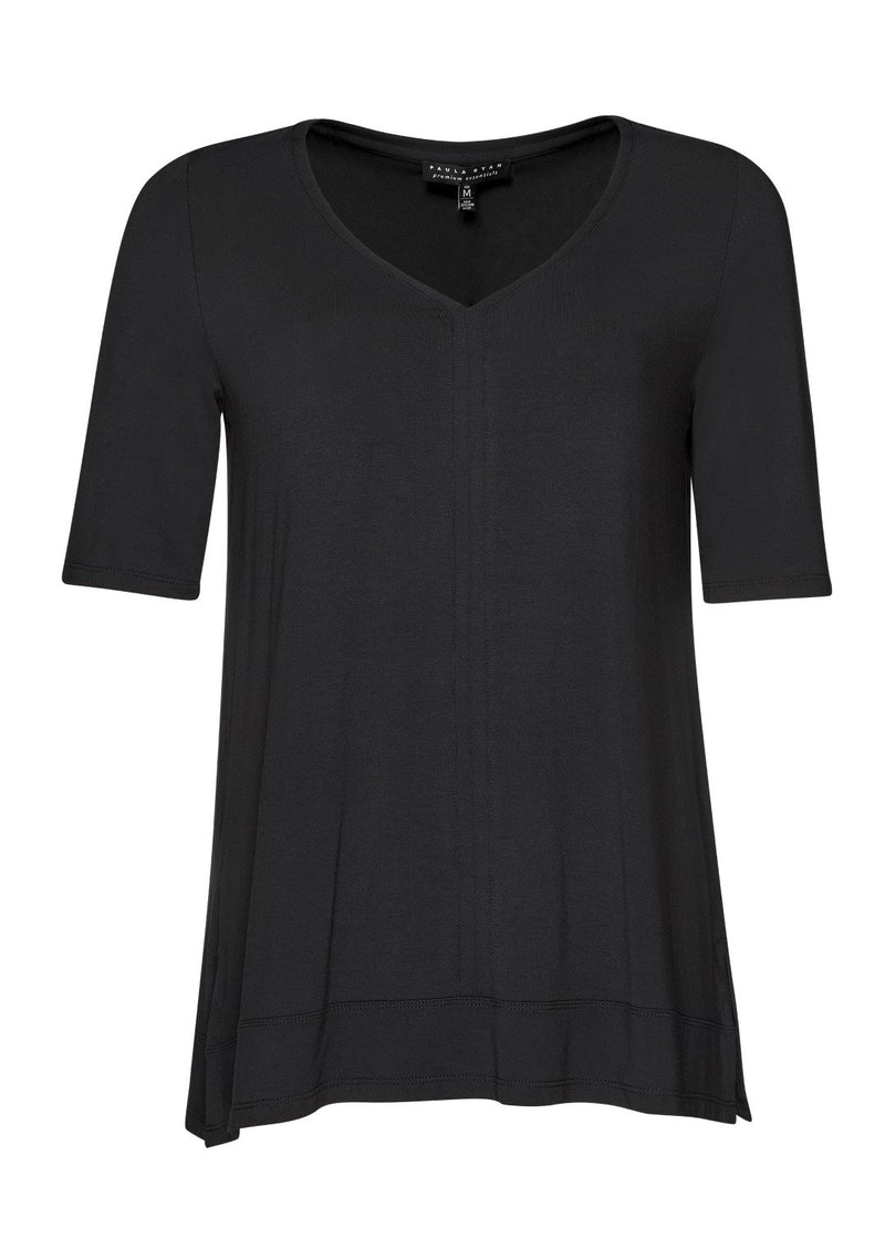 PAULA RYAN ESSENTIALS V Neck Half Sleeve Top - MicroModal - Paula Ryan