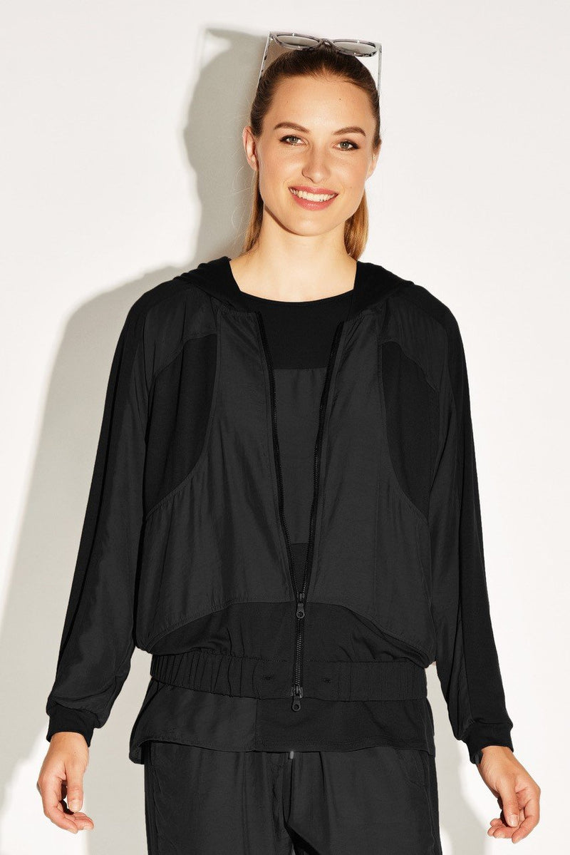 PAULA RYAN RELAXED Panelled Zip Front Hoodie - Viscose Jersey