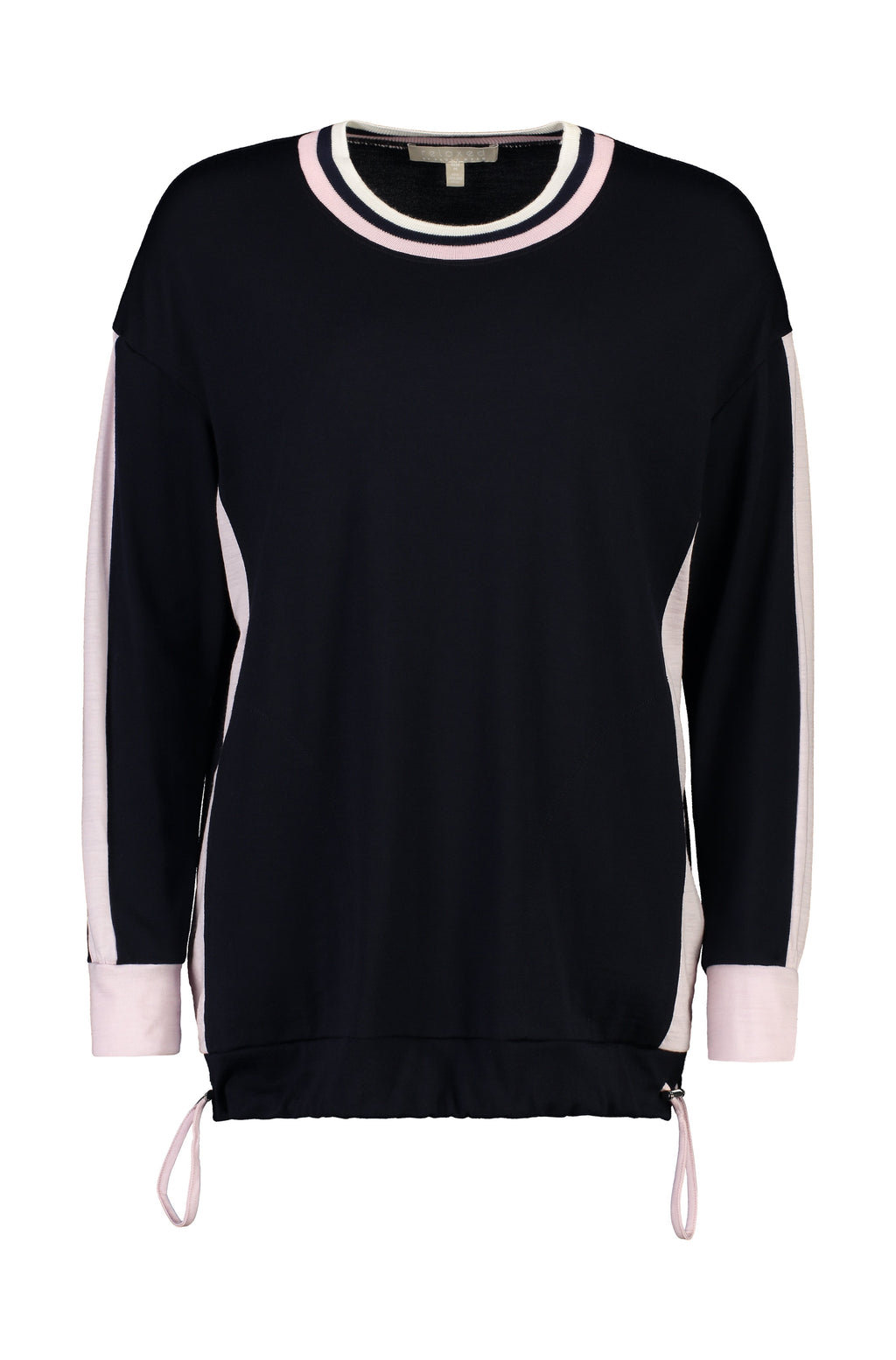 PAULA RYAN RELAXED Contrast Band Top - Ultrafine Merino - Navy/Blossom - Paula Ryan