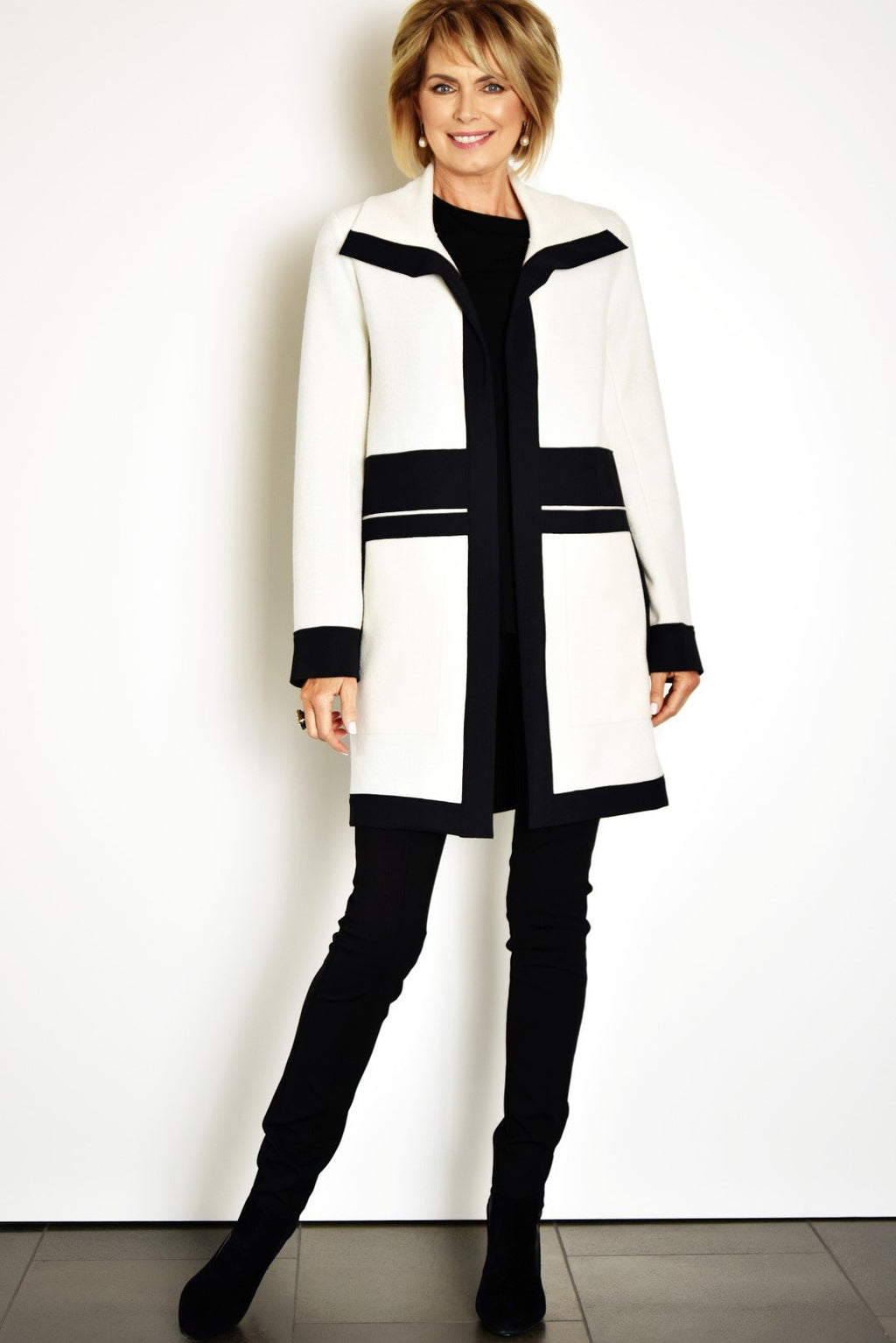 PAULA RYAN Black Trimmed Rufini Coat 8066-Winter White/Black -XS Jacket