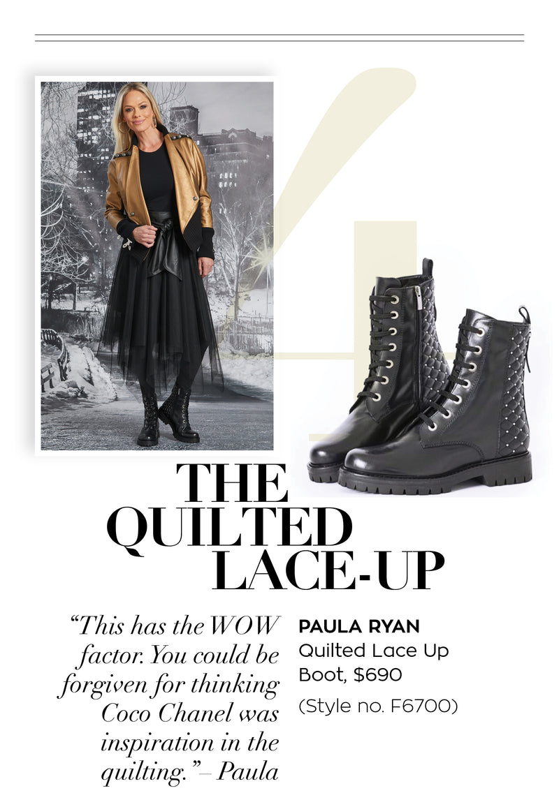 PAULA RYAN Quilted Back Lace Up Boot - Paula Ryan
