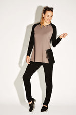 PAULA RYAN RELAXED Zip Trim Raglan Top 8143-Cocoa/Black-XS Top