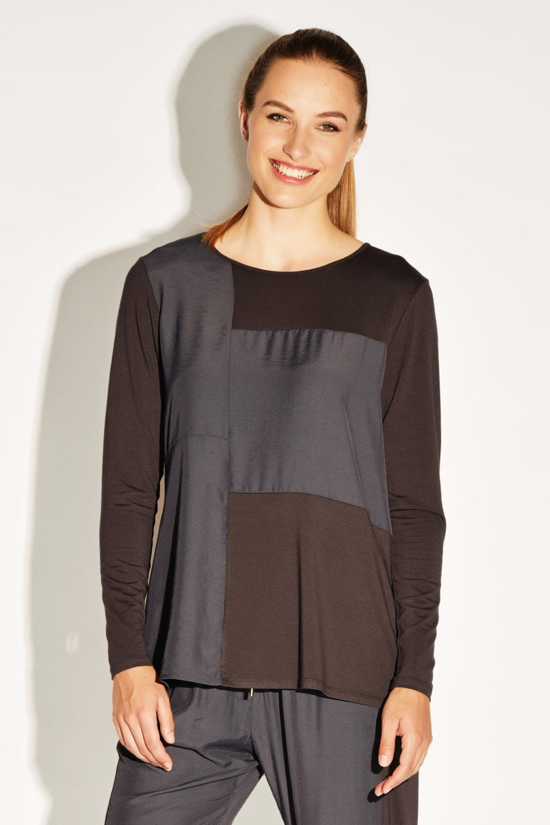 PAULA RYAN RELAXED Side Panel Long Sleeve Tee - Viscose Jersey - Top - PAULA RYAN Relaxed - Paula Ryan