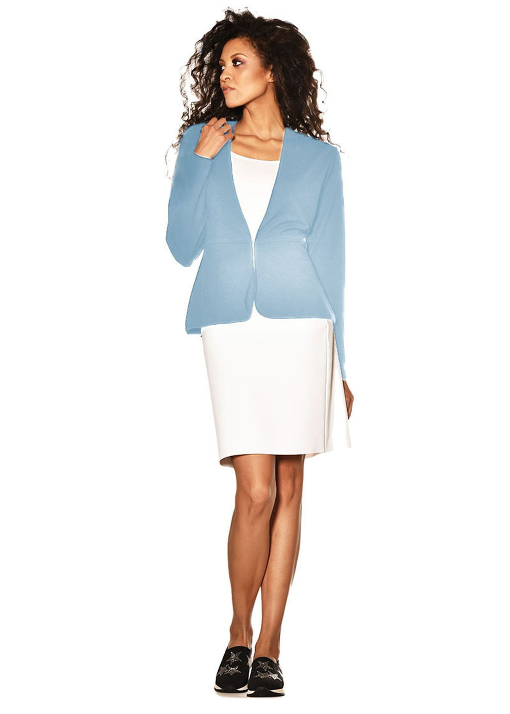 PAULA RYAN Waisted Cardigan 8101-Glacier-XS Jacket