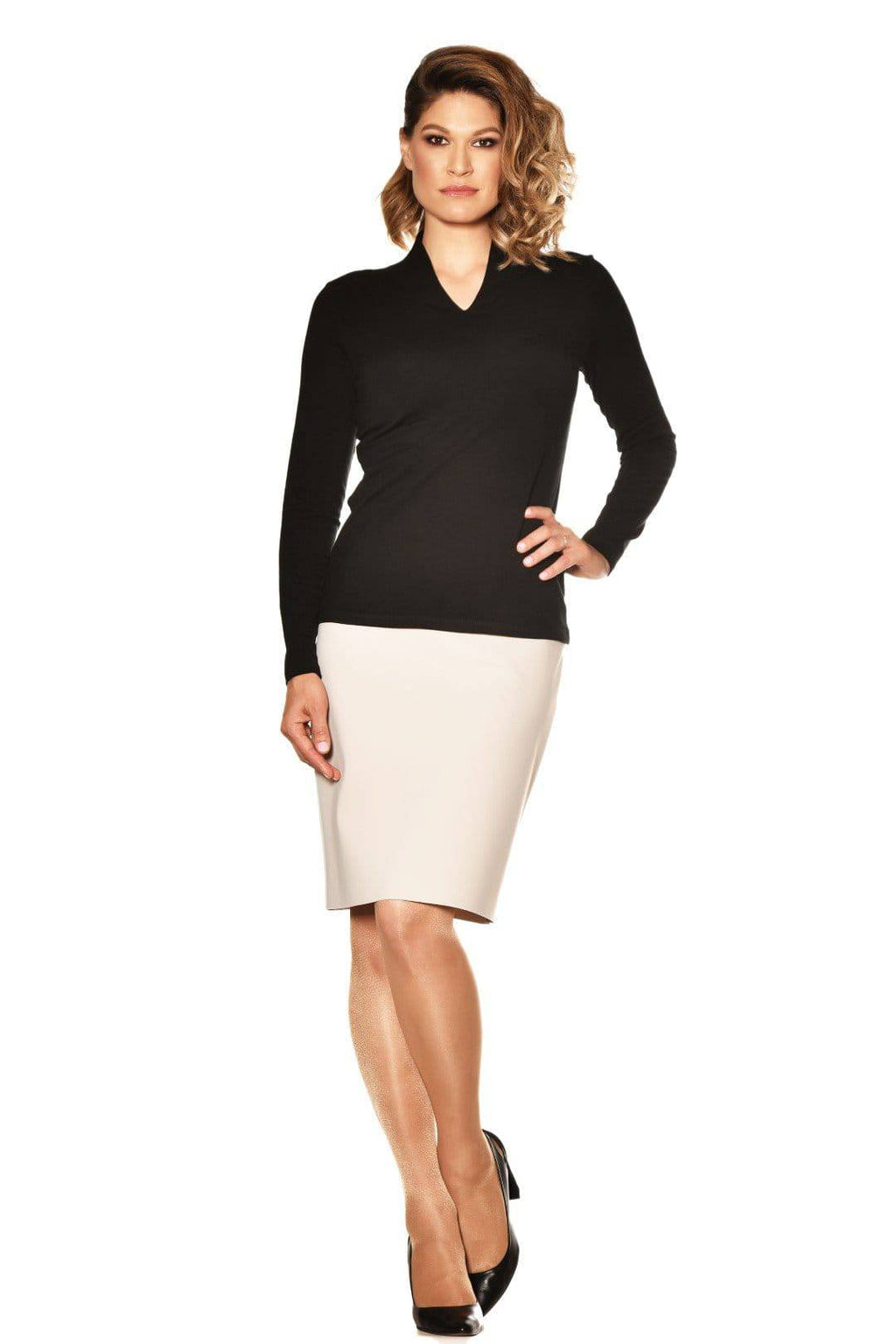 PAULA RYAN ESSENTIALS Easy Fit Long Sleeve High Neck V Top - Merino - Top - Paula Ryan Essentials - Paula Ryan