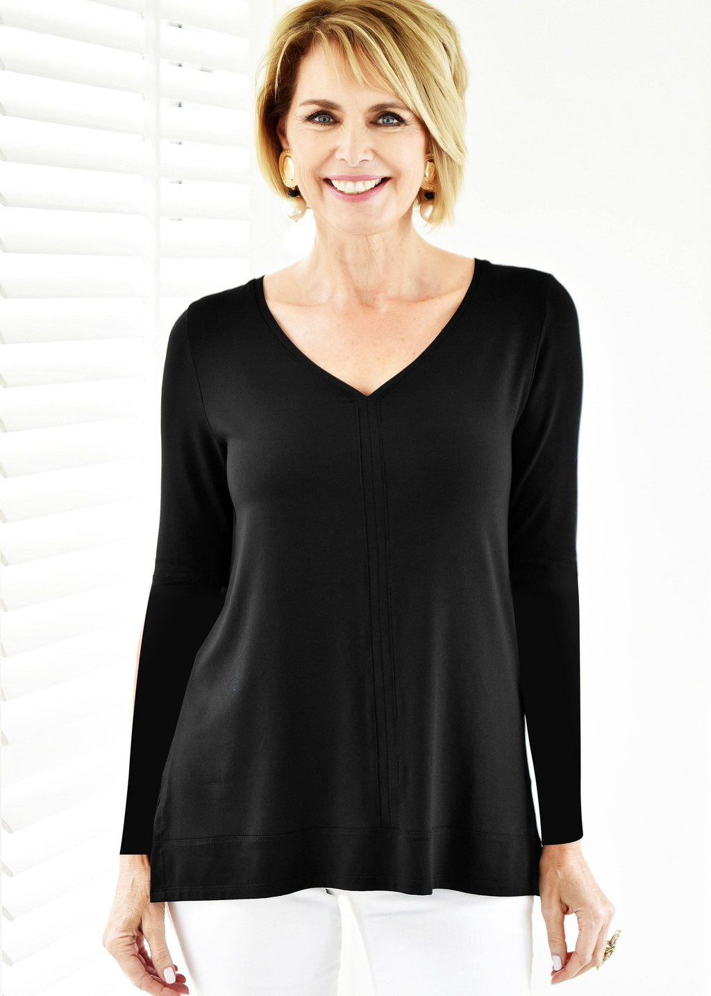 PAULA RYAN ESSENTIALS V Neck Long Sleeve Top - MicroModal - Top - Paula Ryan Essentials - Paula Ryan