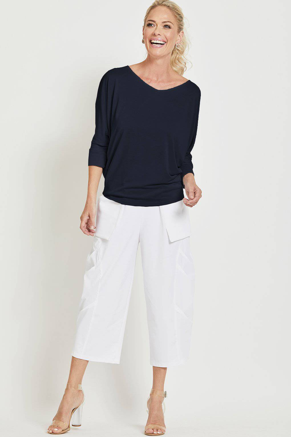 PAULA RYAN Batwing ¾ Sleeve V Neck Top - MicroModal - Paula Ryan