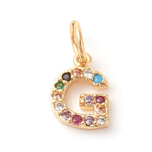 Gold Initial Charm with Multi-Color Stones - Charmed Life Jewelry