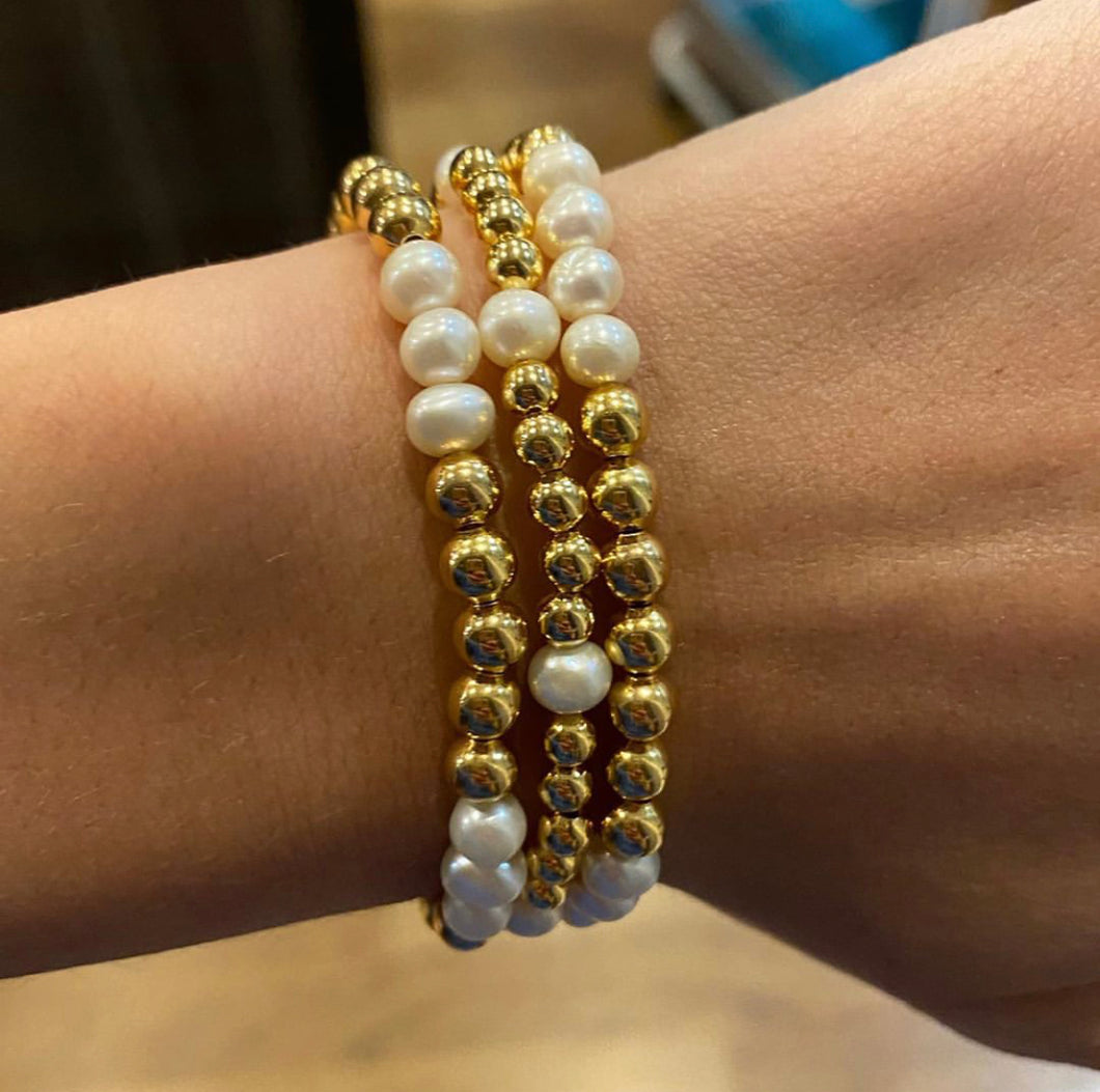 Gold and Pearl Beaded Bracelet Set