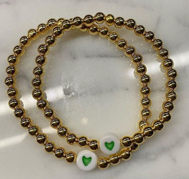 Gold Beaded with Heart Bracelet - Charmed Life Jewelry